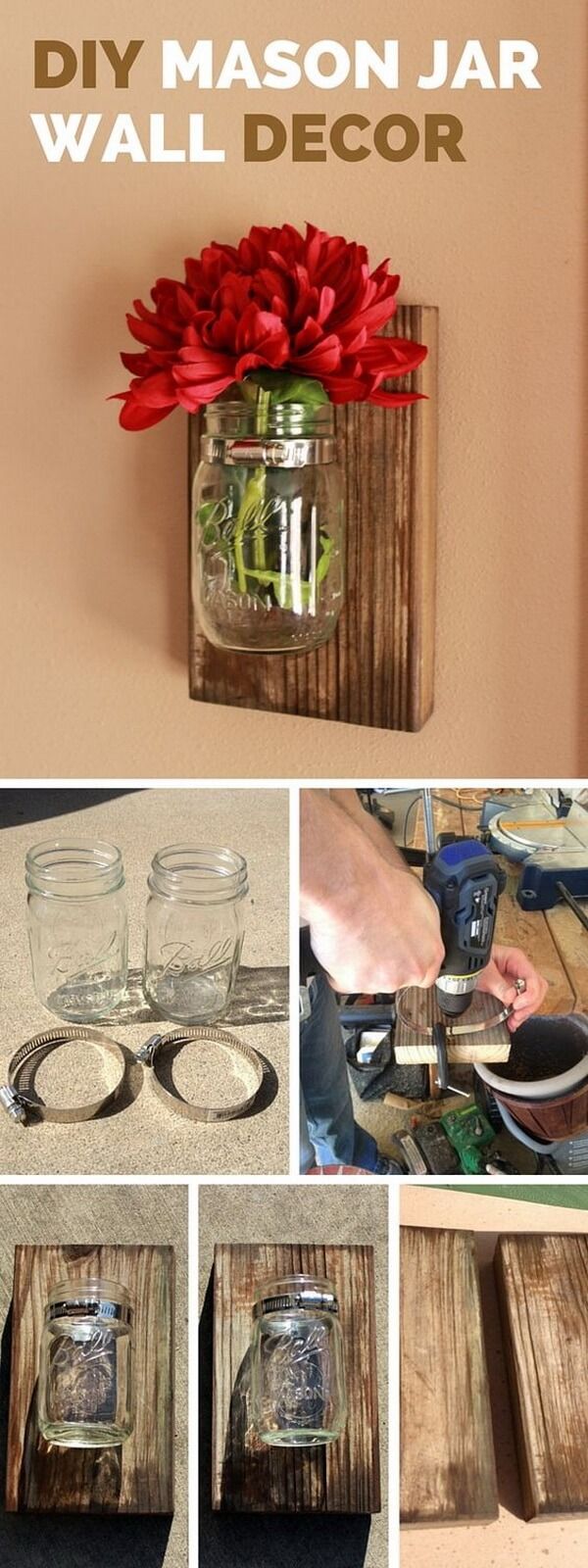 Simple Mason Jar Wall Vases