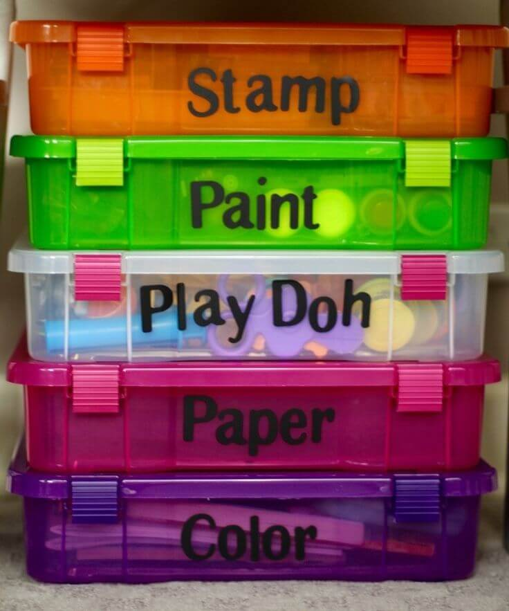 Color Coded Play Day Supply Stack