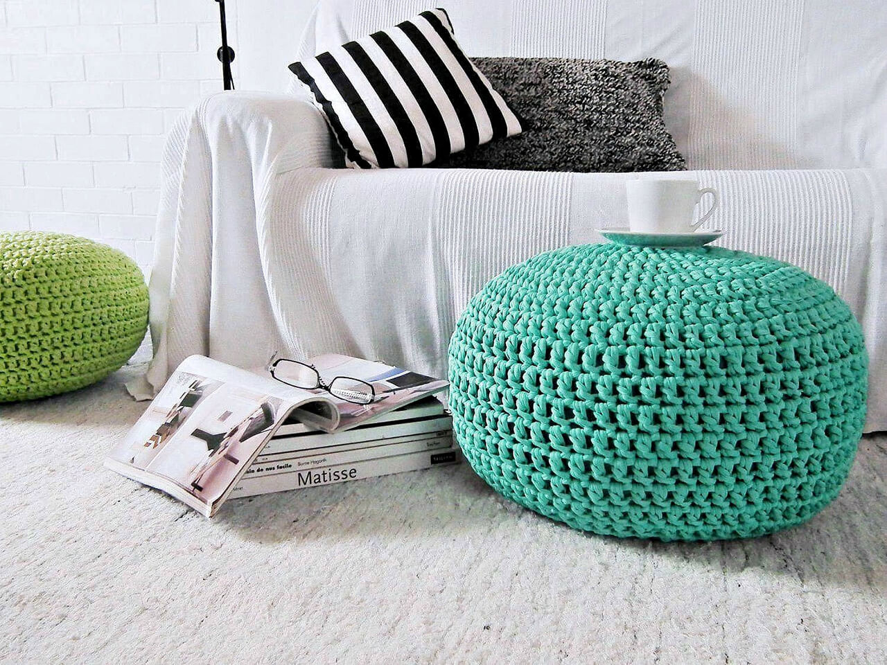 Colorful Crocheted Footstool