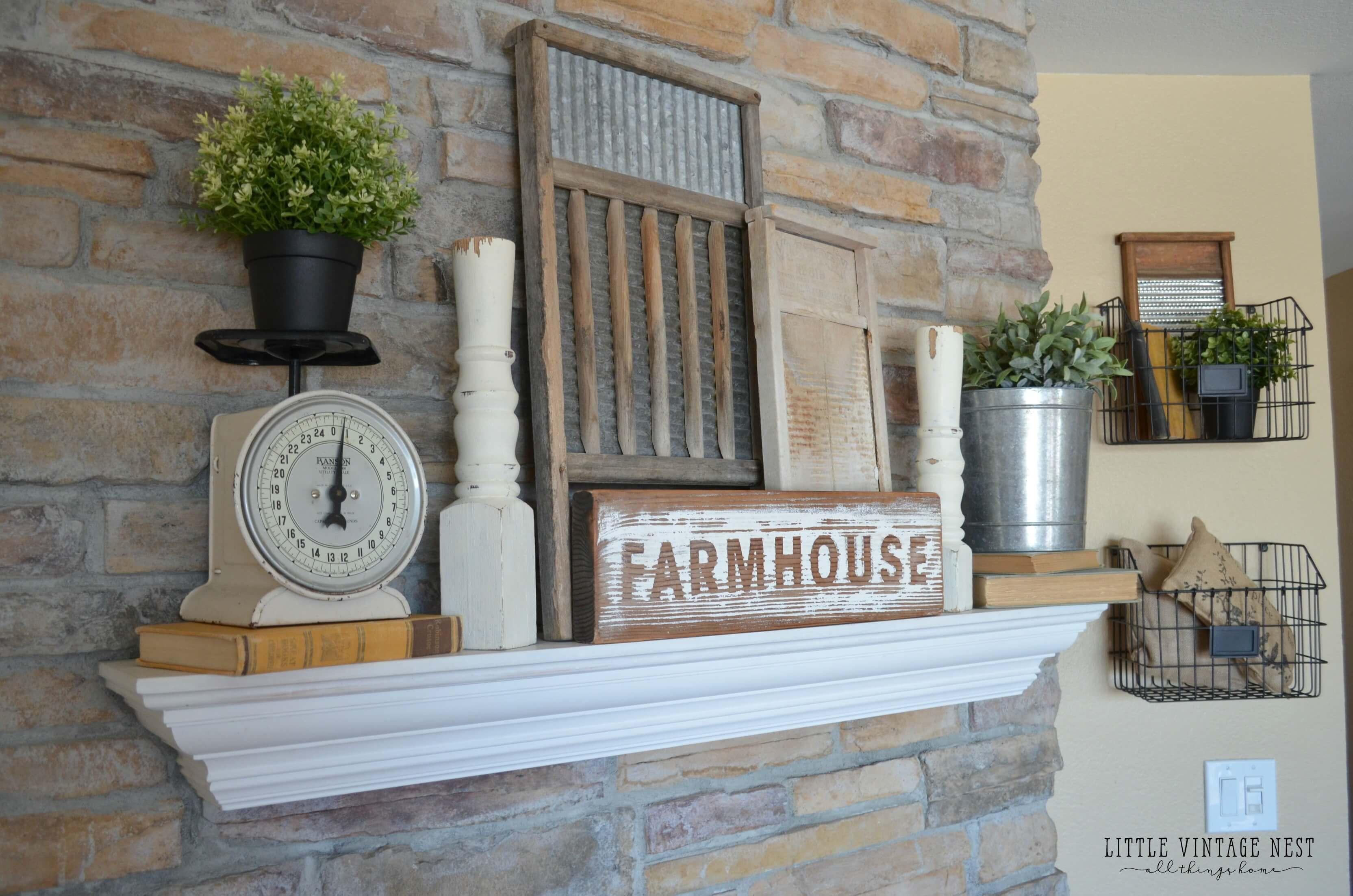 Farmhouse Mantel Decor Ideas with Signs