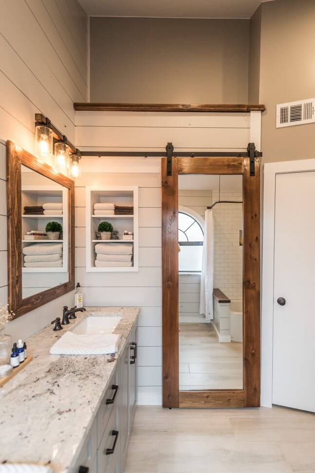 Farmhouse Mirror Idea with Sliding Doors