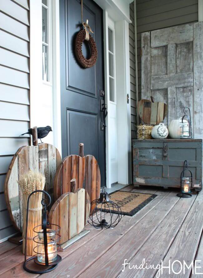 Rustic Wood Pumpkin Porch Art