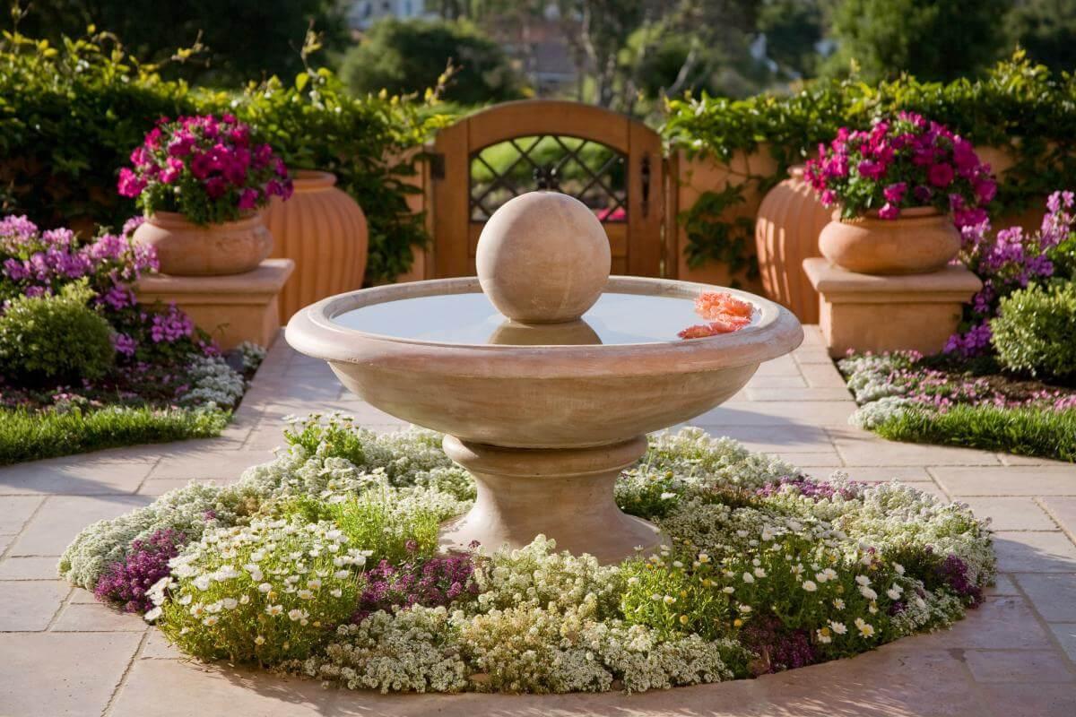 Elegant Mediterranian Inspired Fountain Bed
