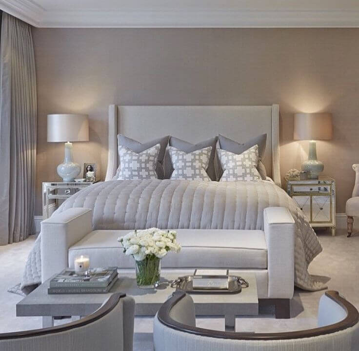 Warm Beige and Grey Neutrals Create an Inviting Atmosphere in this Bedroom