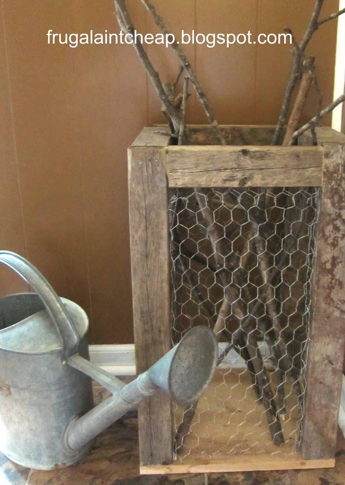 Use Chicken Wire for a Firewood Holder
