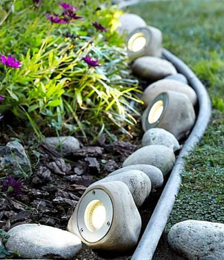 Garden Lights Hidden in Rocks