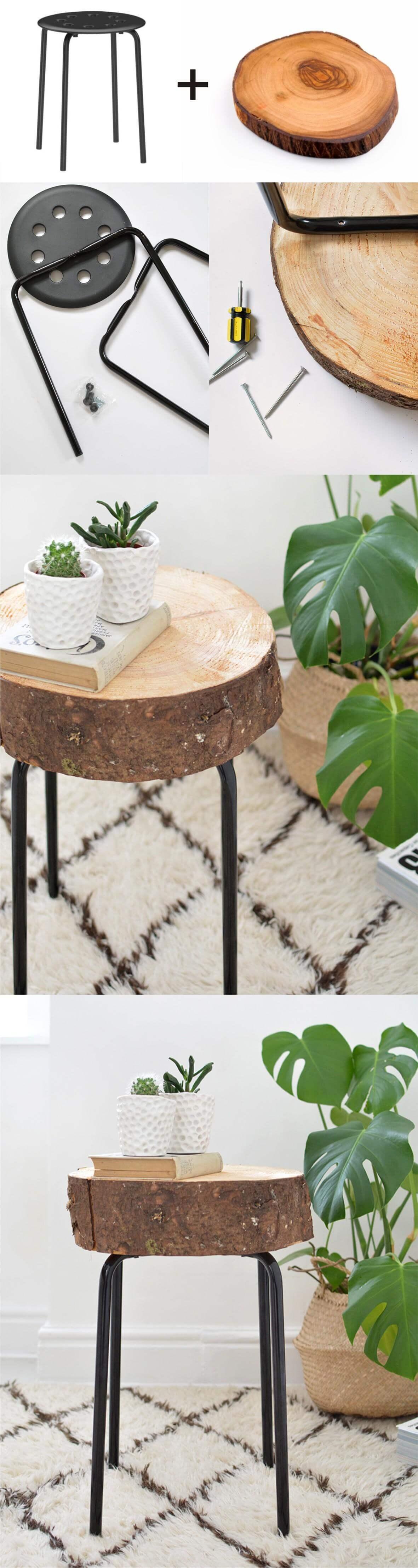 Natural Wood Block Nightstand
