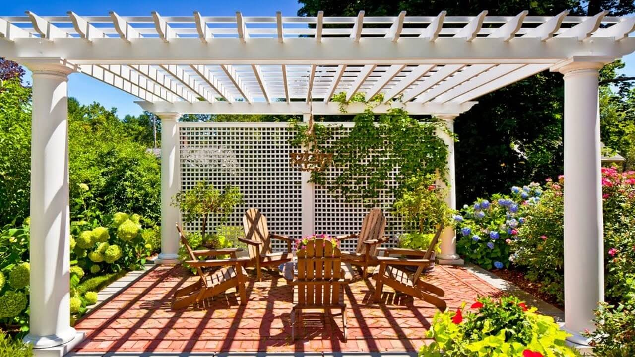 English Garden Latticed Pergola