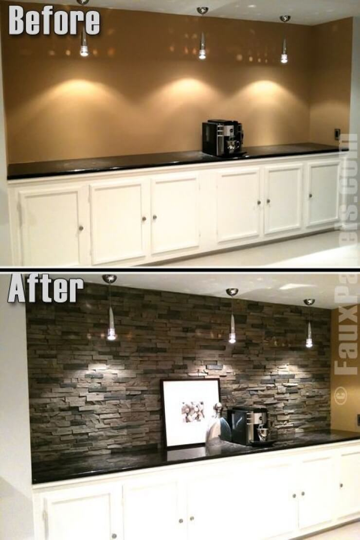 Stunning Mixed Stone Workspace Accent Wall