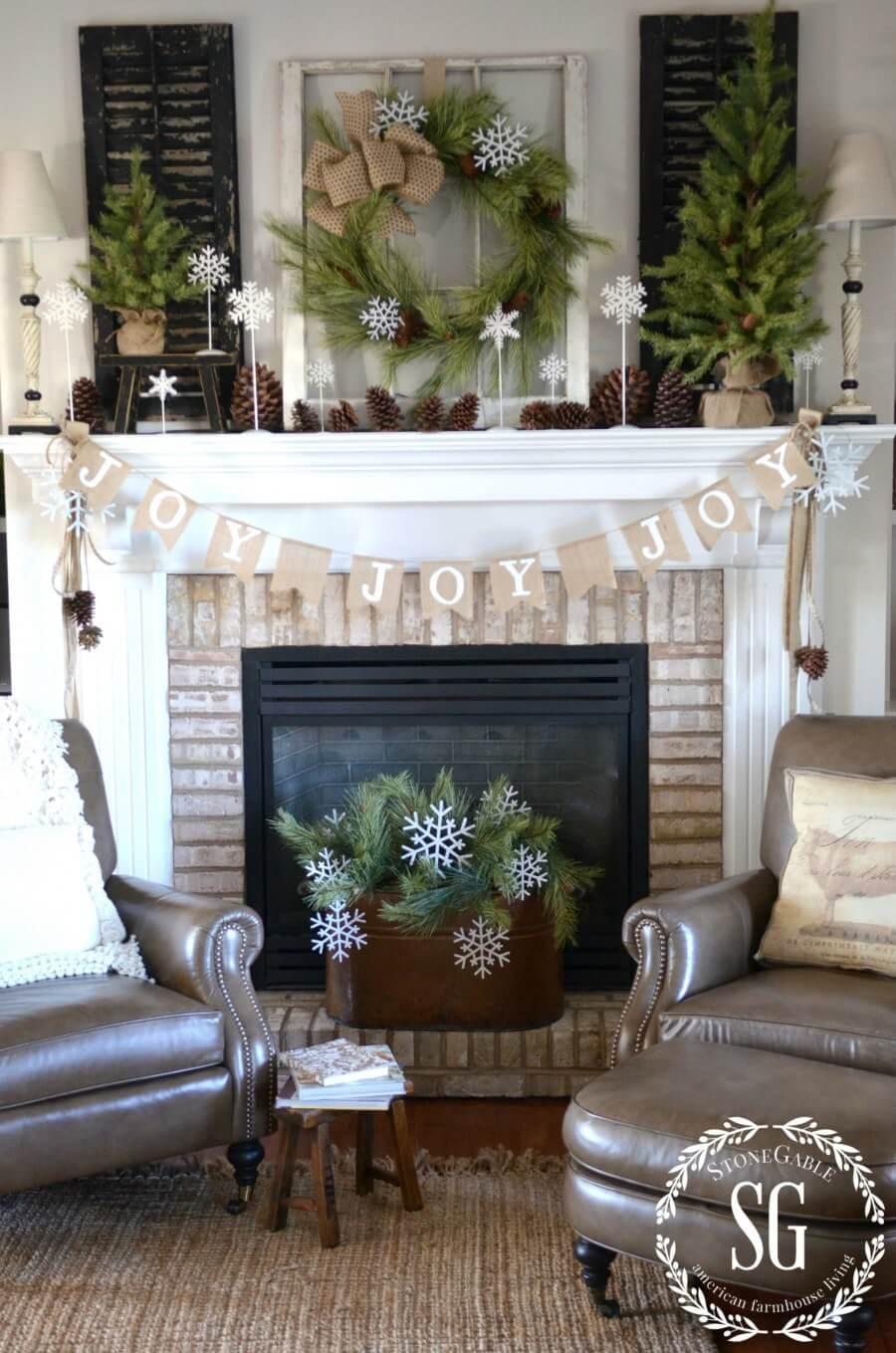 Snowflake and Pine Fireplace Decor