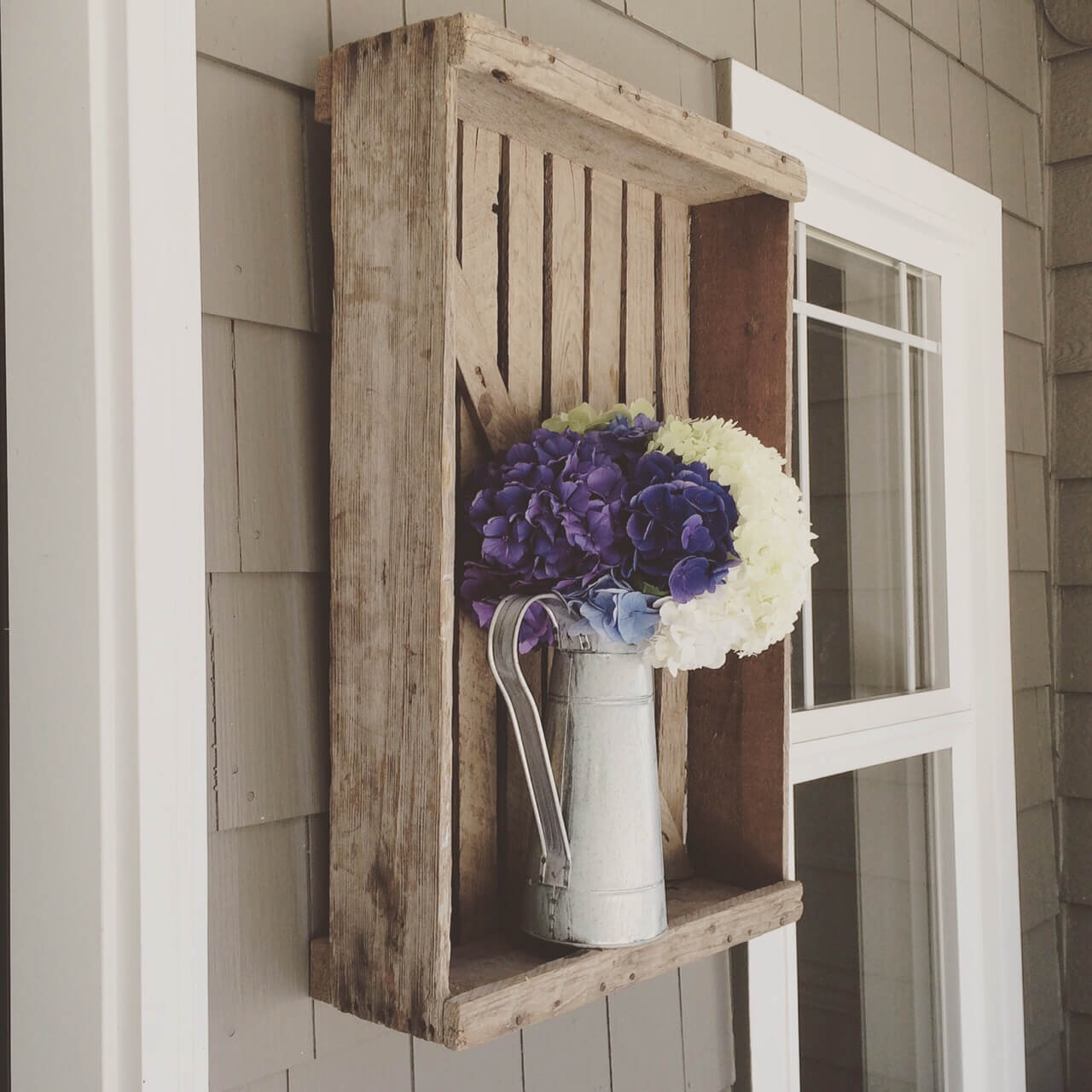 Repurposed Farm Crate Vase Mount