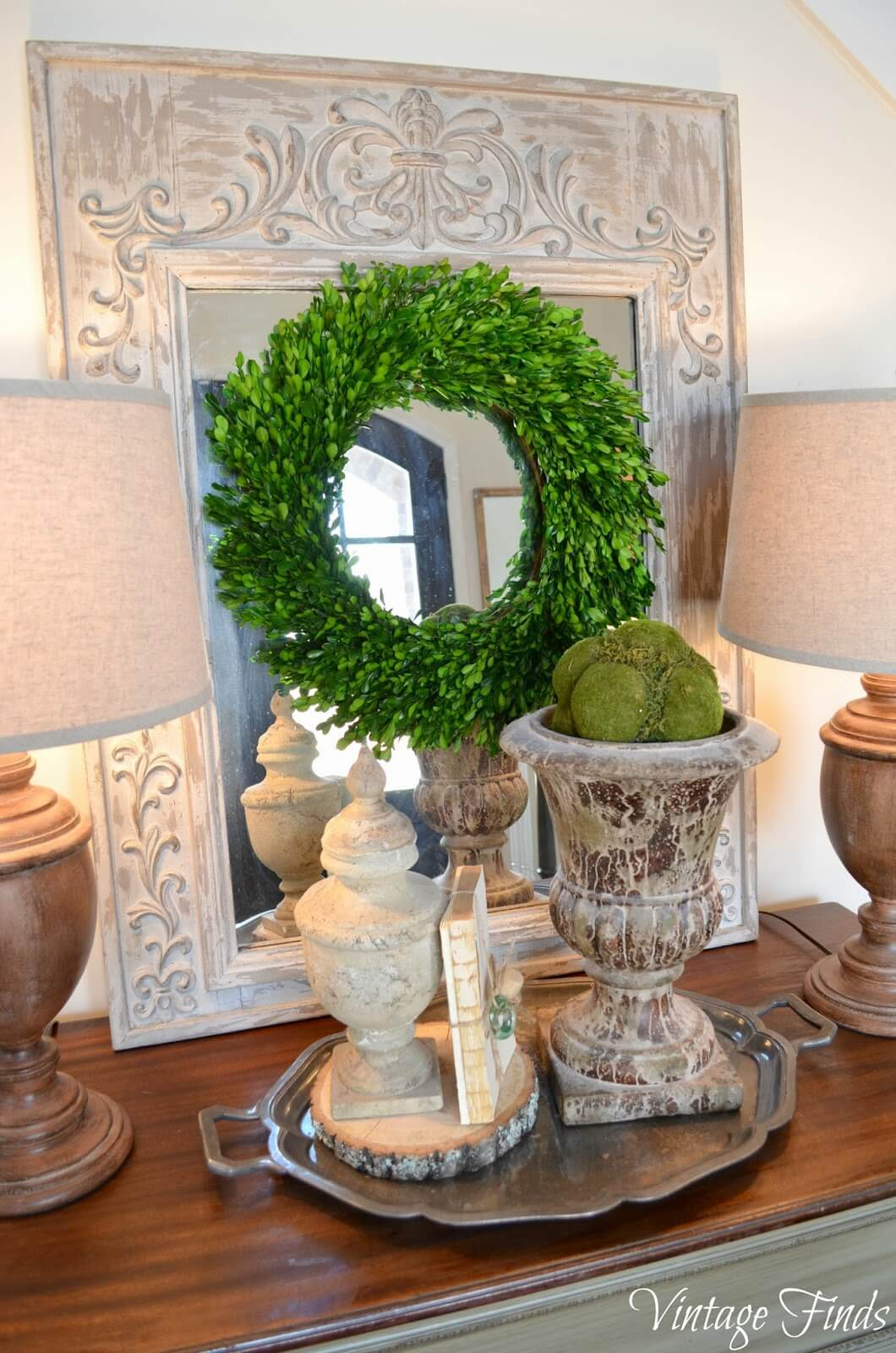 Green Moss Spiral Wreath with Mirror