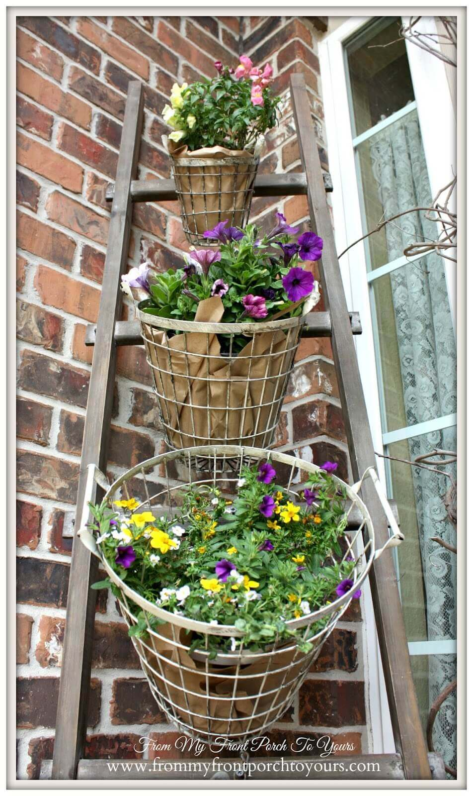 Wooden Ladder With Tiered Wire Flower Pots