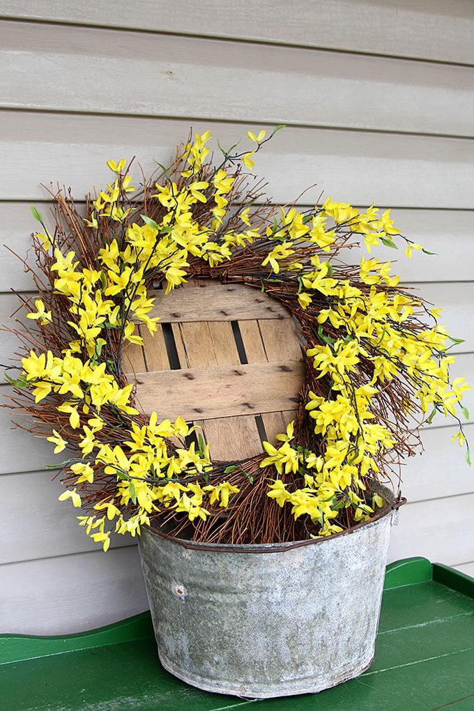 Pretty Forsythia Wreath For Spring