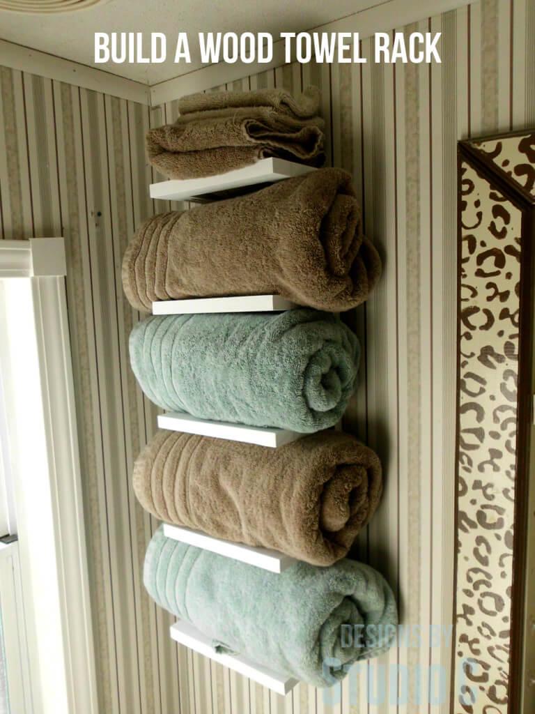 Horizontal Bookshelf Style Towel Shelf