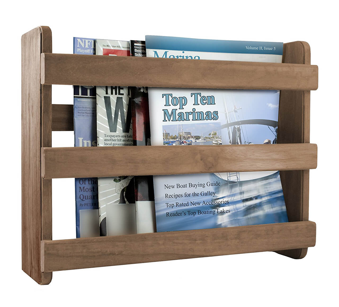 Teak Wood Bathroom Magazine Rack