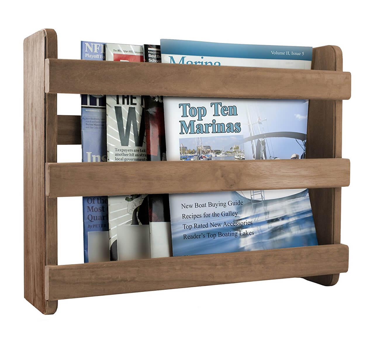 Teak Wood Bathroom Magazine Rack