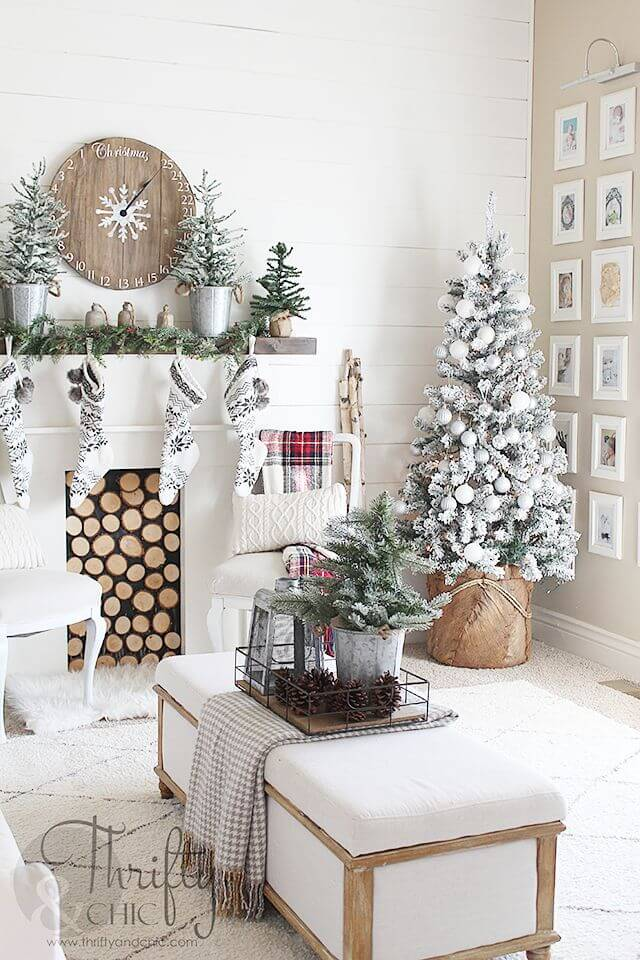 Woodland Christmas Trees Set in White