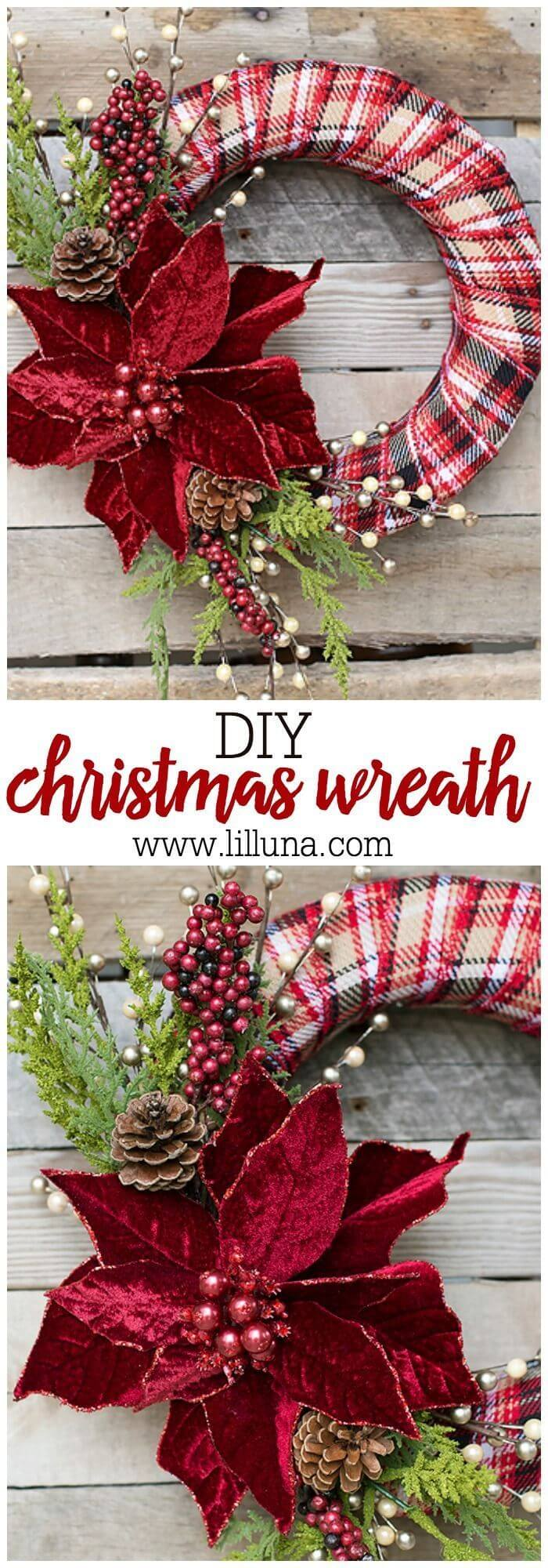 DIY Plaid and Poinsettia Xmas Craft