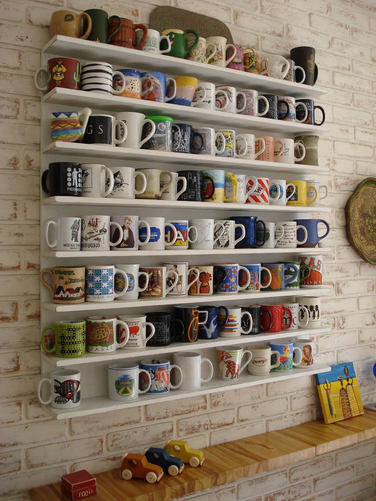 Minimalist White Mug Storage Shelves