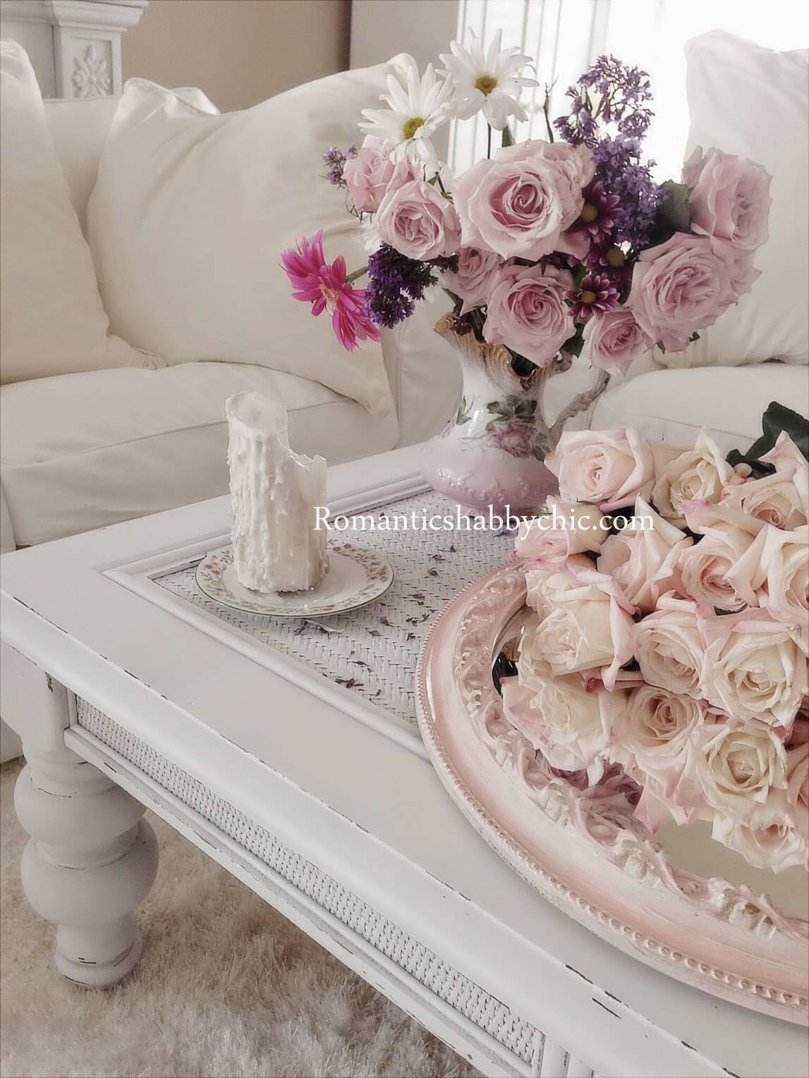 Lace-topped Table Featuring Shabby-chic Country Bouquets
