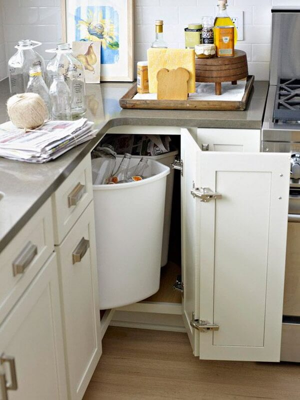 Put Trash Bins Under the Cabinets