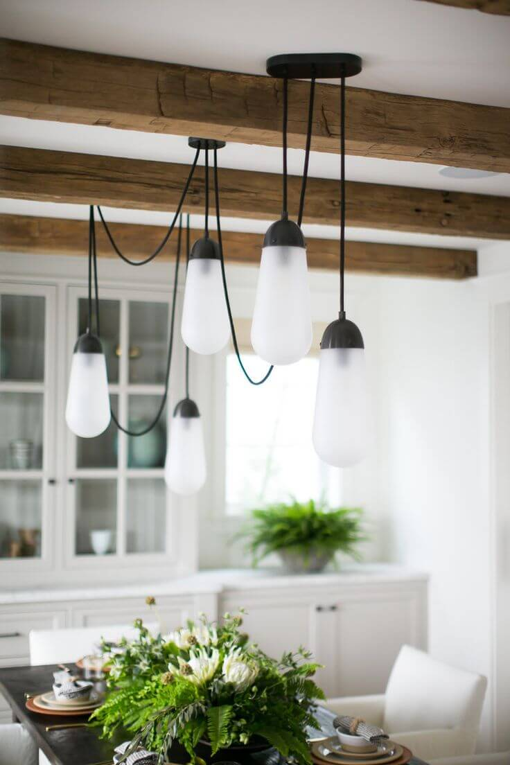 Country Cottage Style Kitchen Decor Idea with Pretty Lighting