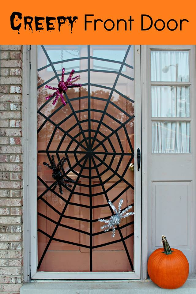 Creepy halloween front door