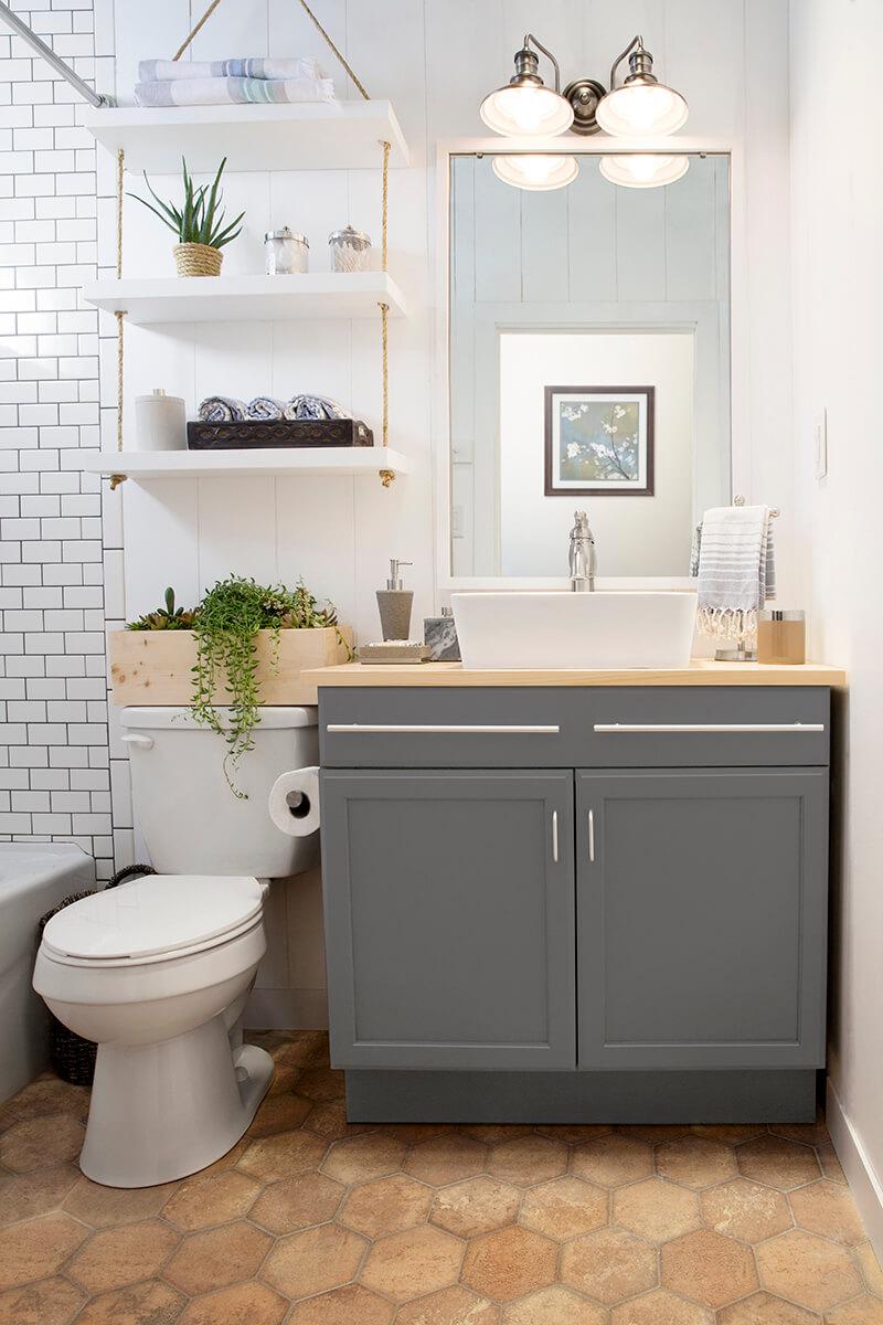 Rope and Swing DIY Bathroom Shelf Ideas