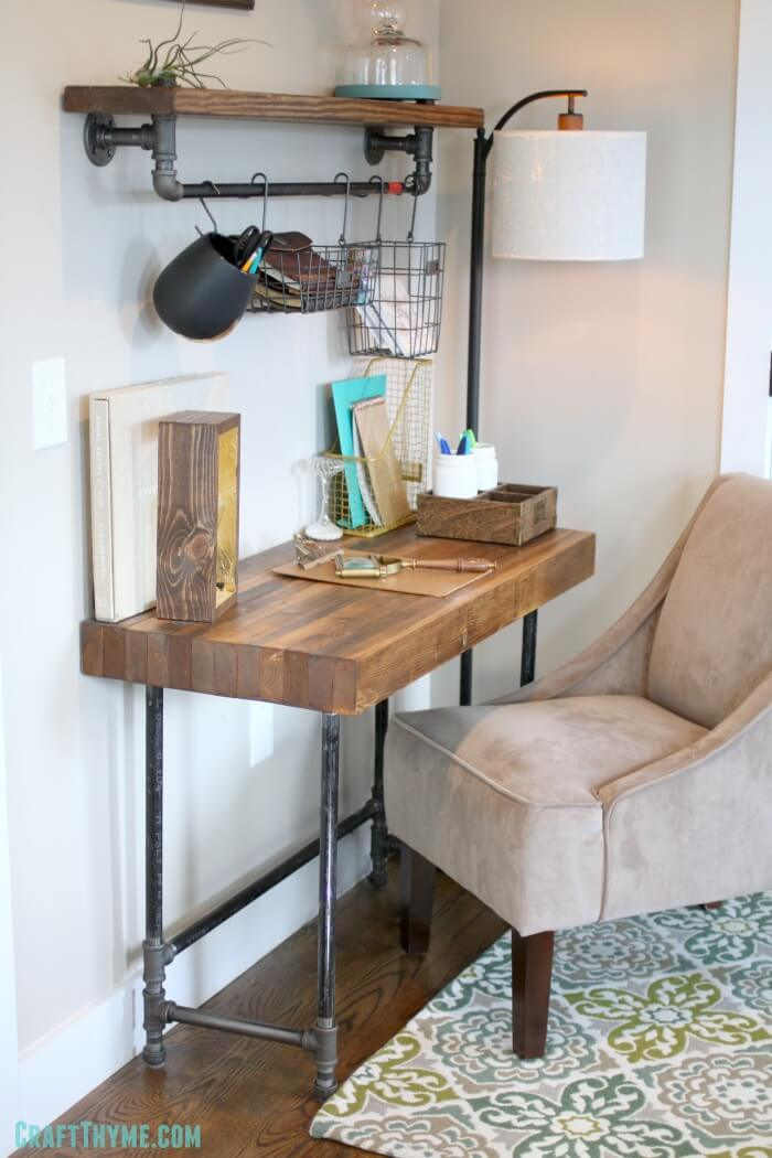Industrial Style Desk with Plumbing Pipe