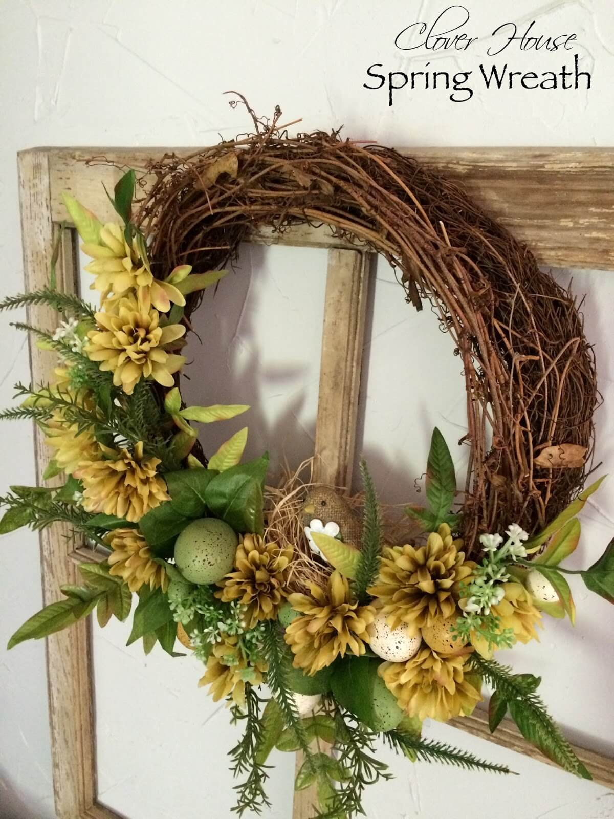 Nest Themed Wreath with Wild Greenery