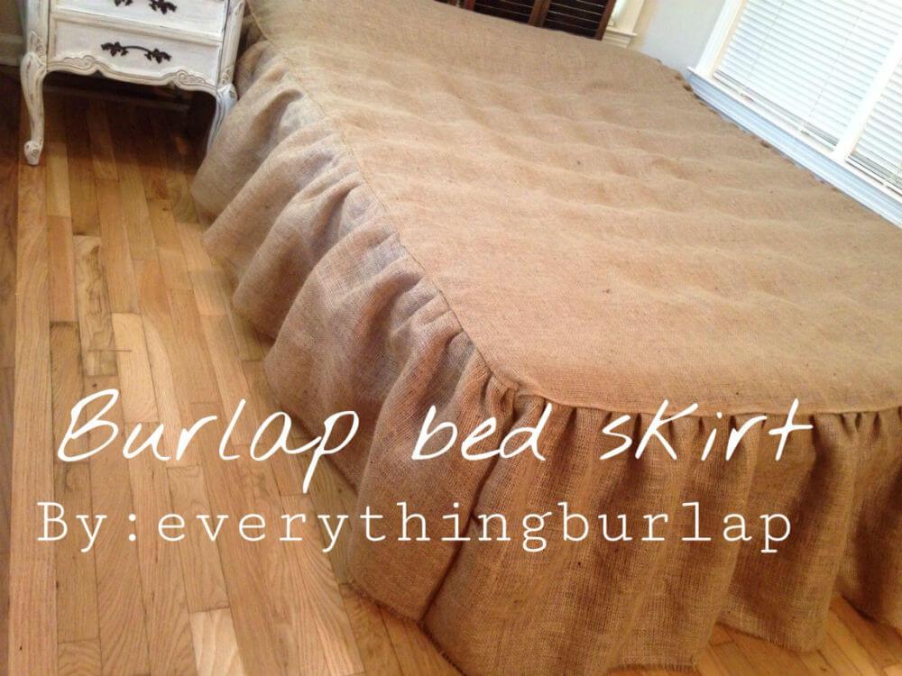 Brown Vintage Country Burlap Bed Skirt