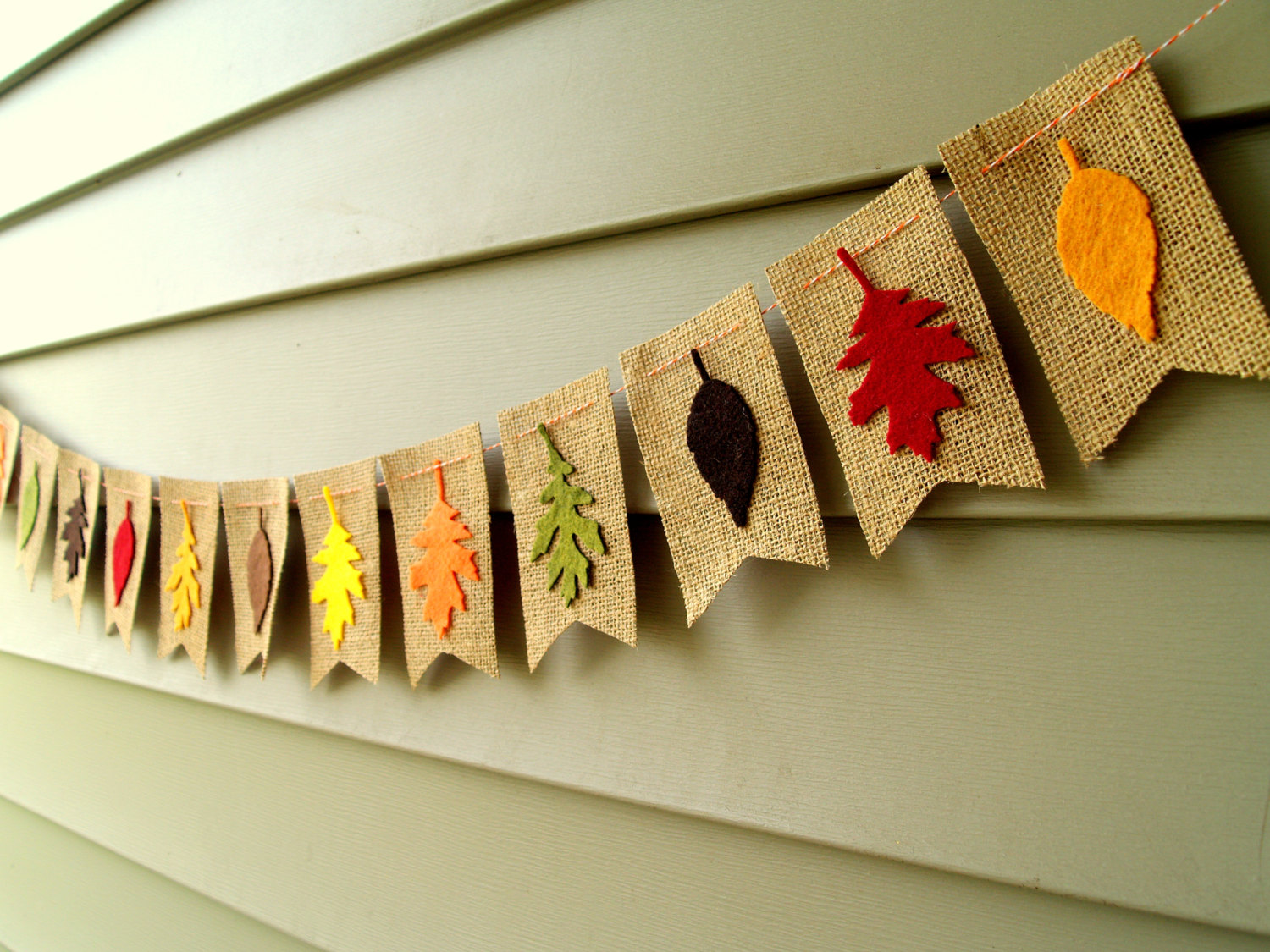 Burlap Bunting with Fall Leaves