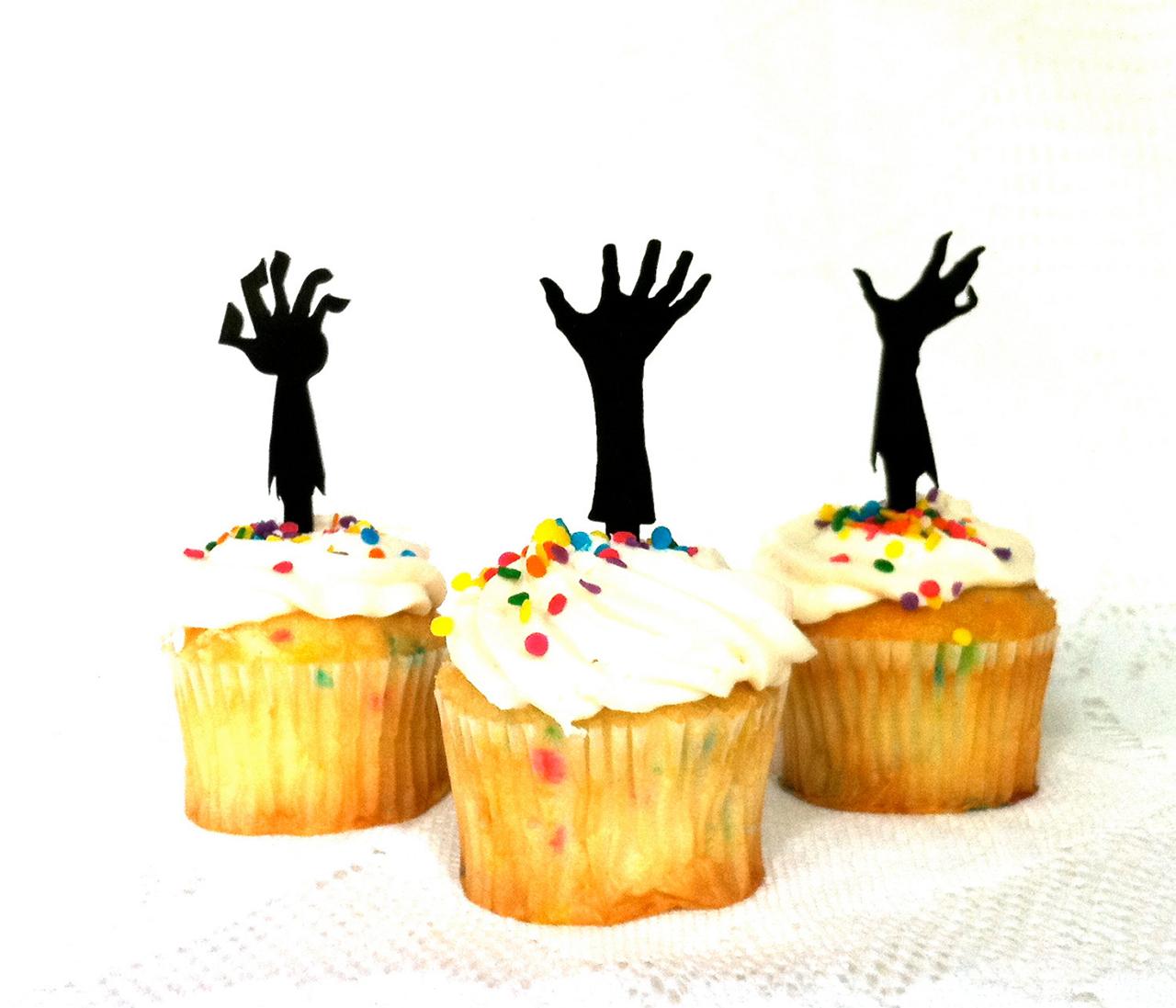 Zombie Hand Cupcake Decorations