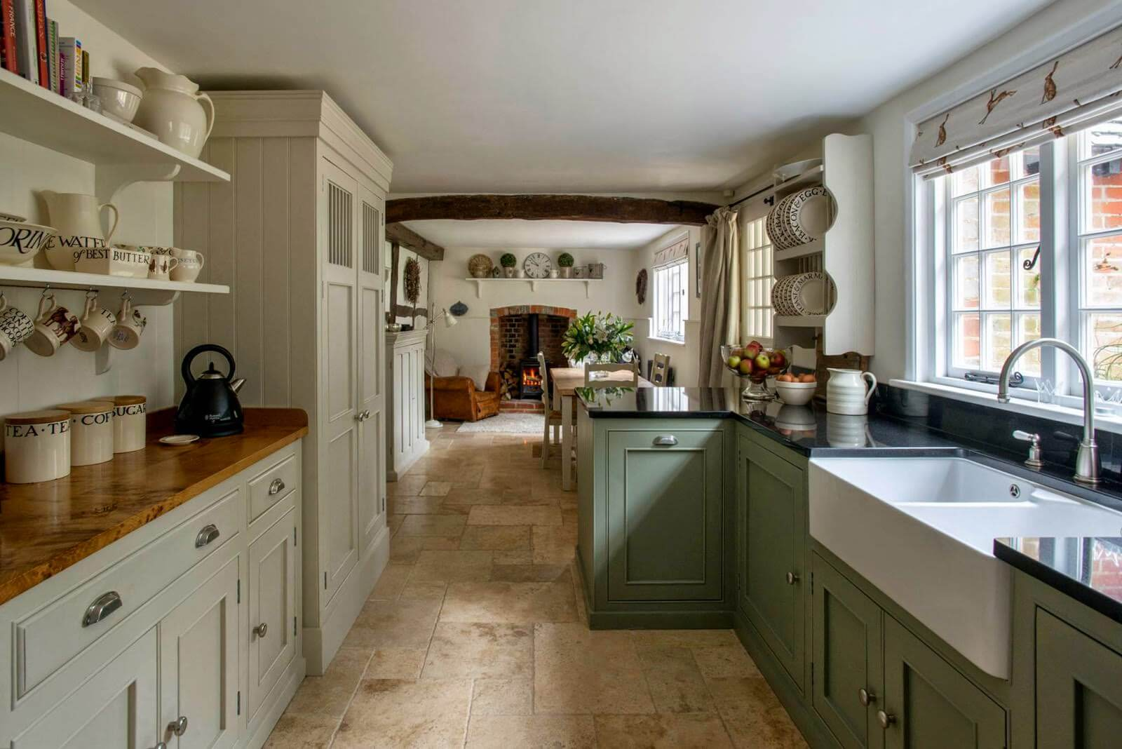 White and Olive Green Blended Cabinets