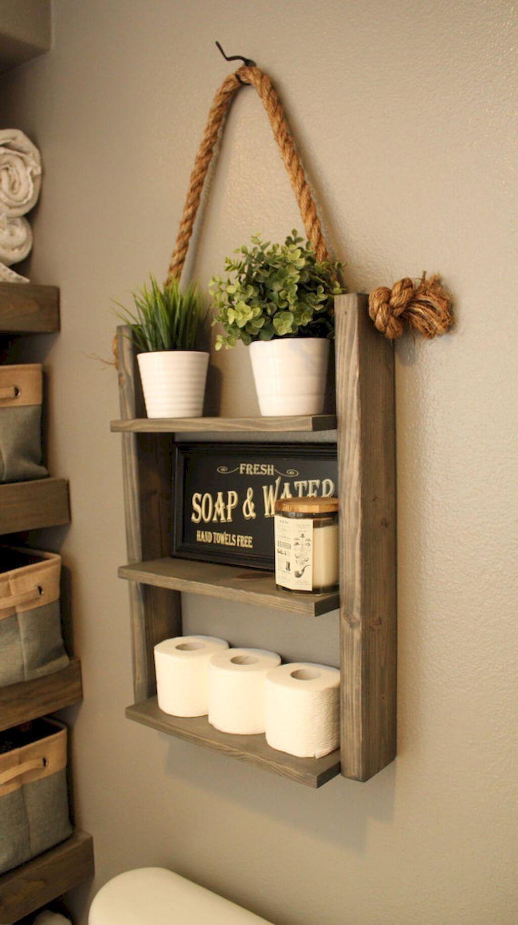 Bathroom Shelf Hung from a Rope