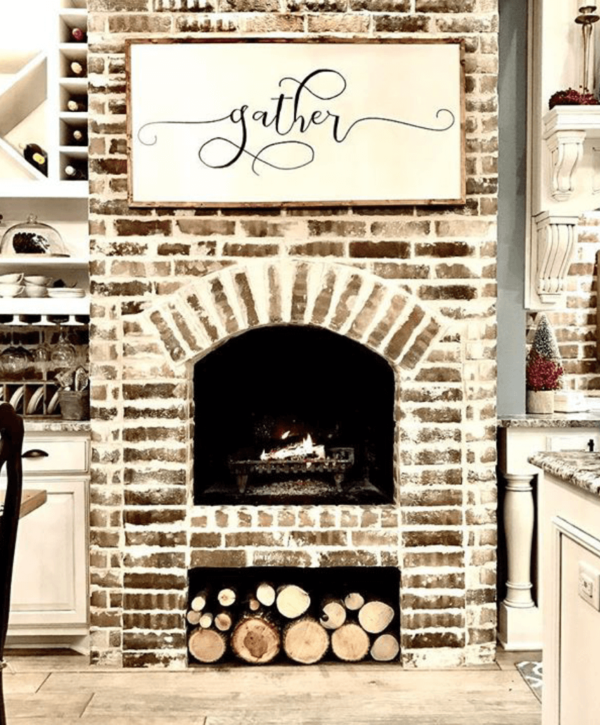 Old-World Fireplace Becomes Kitchen Focal Point