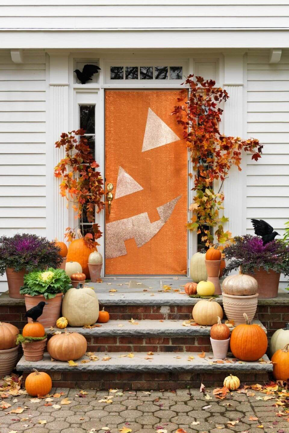Grinning Jack-o-Lantern Front Door Decor