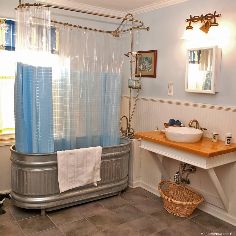 Large Wash Tub Turned into Shower and Bath