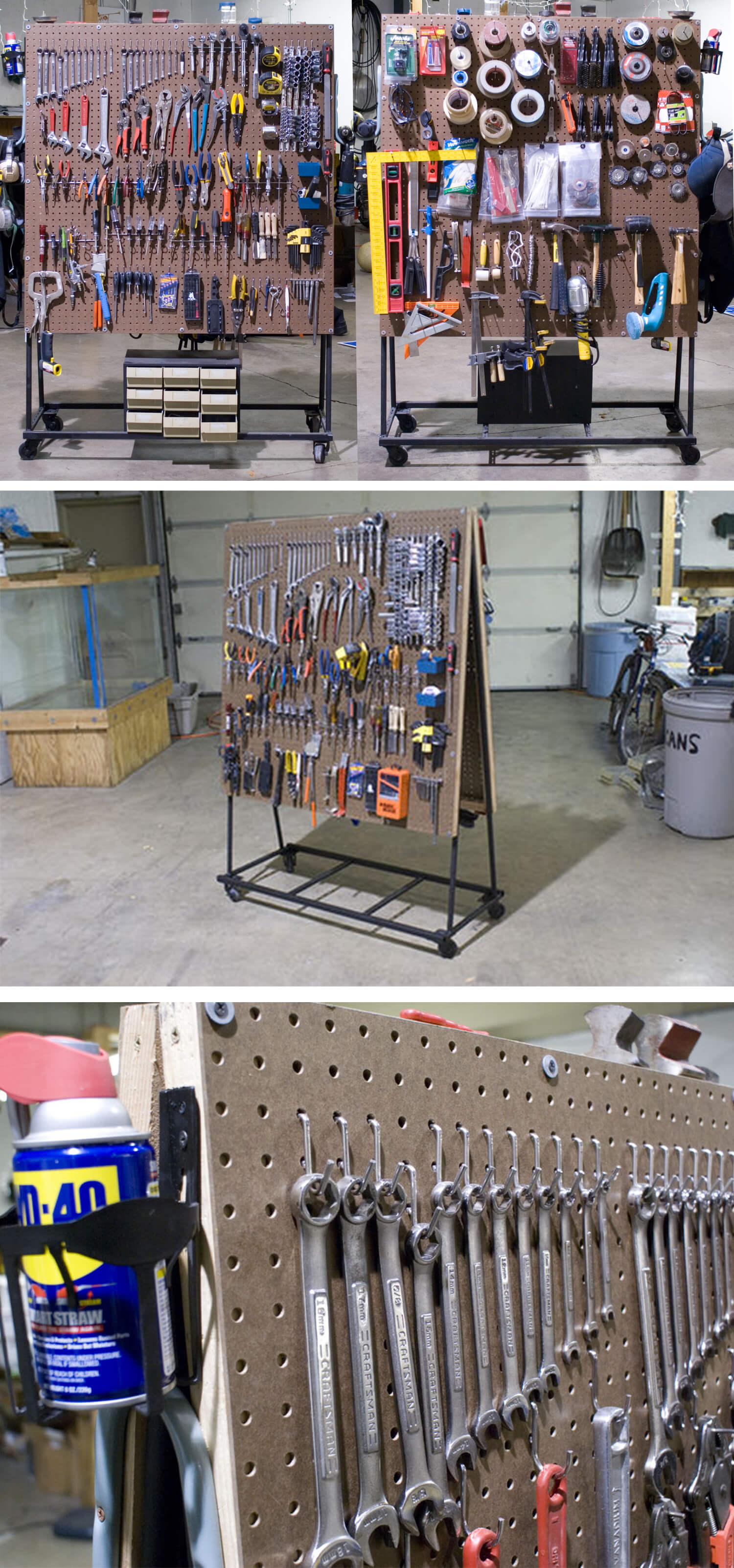 Rolling Double-Sided Pegboard Tool Organizer