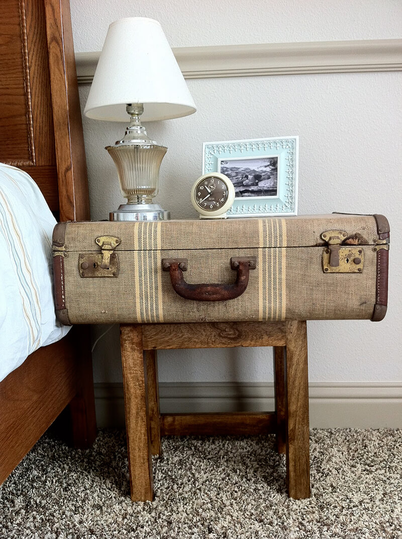 Weathered Travel Case on Antique Bench