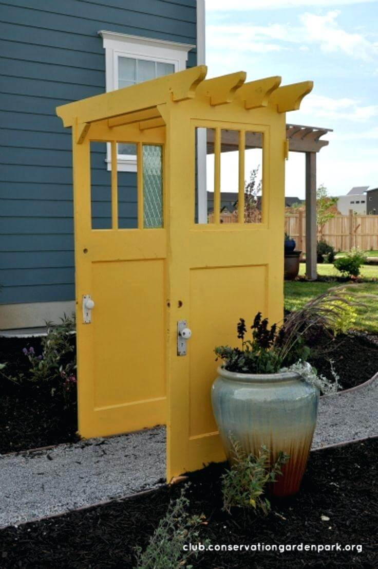 Brightly Painted Doors Make a Pergola