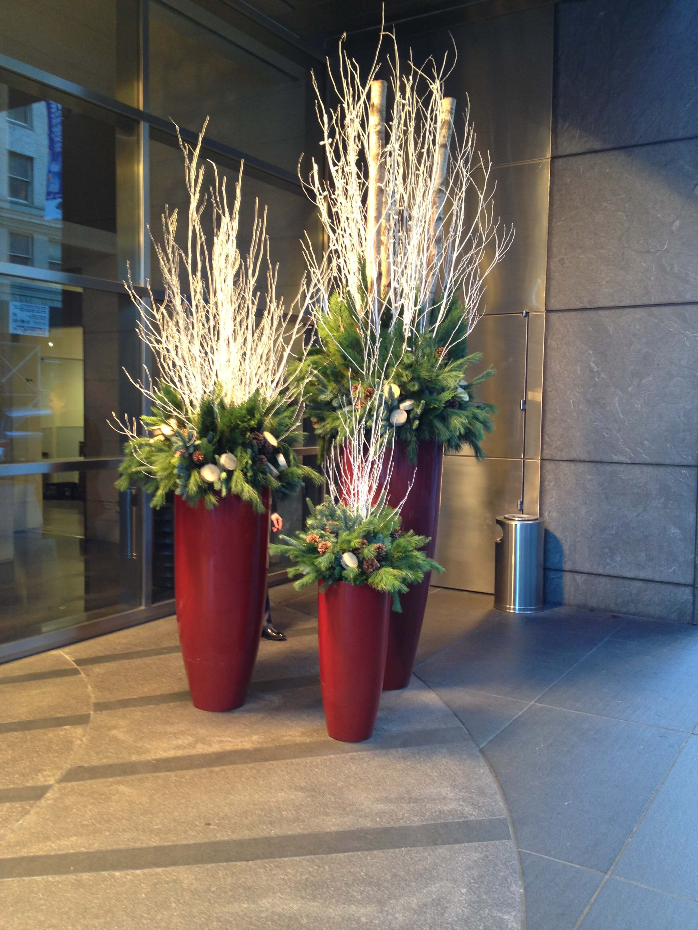 Birch Branch and Evergreens Planters