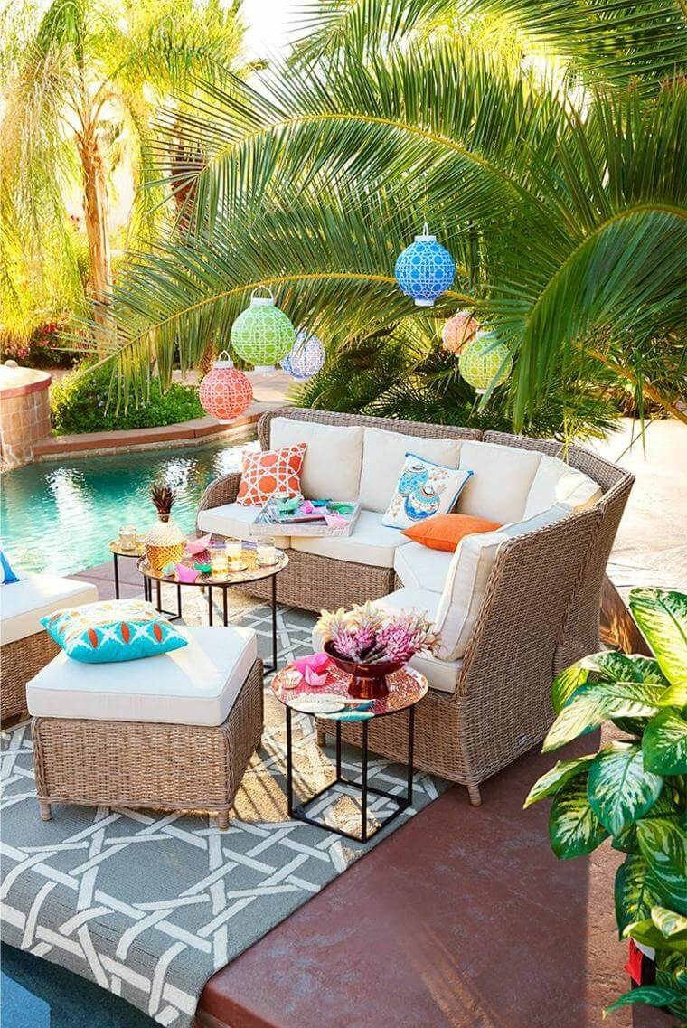 Colorful Poolside Seating Area with Wicker