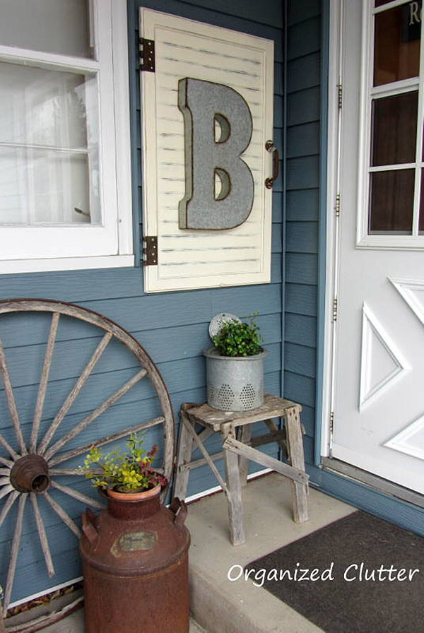 Repurposed Shutter with Name Initial