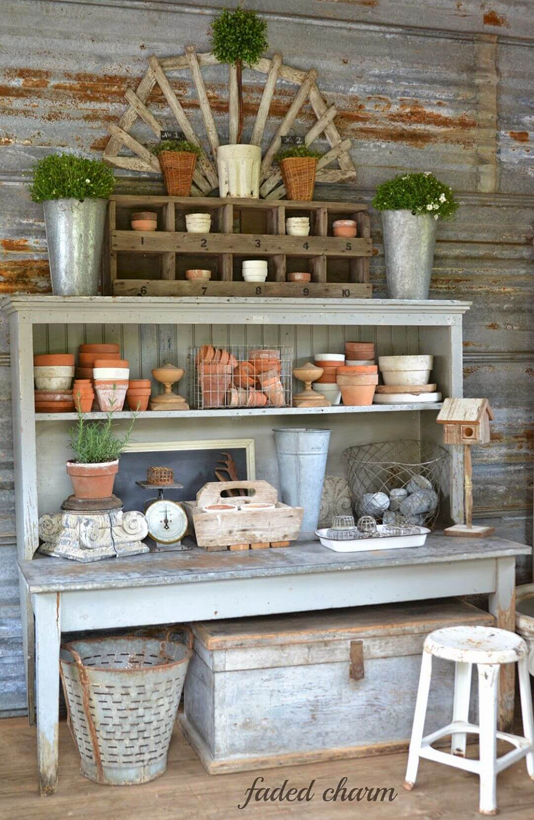 Floor to Ceiling Farmhouse Work Bench Décor