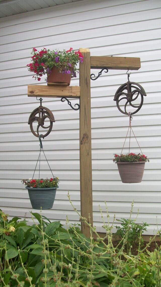 Old Wheels used as Plant Hangers