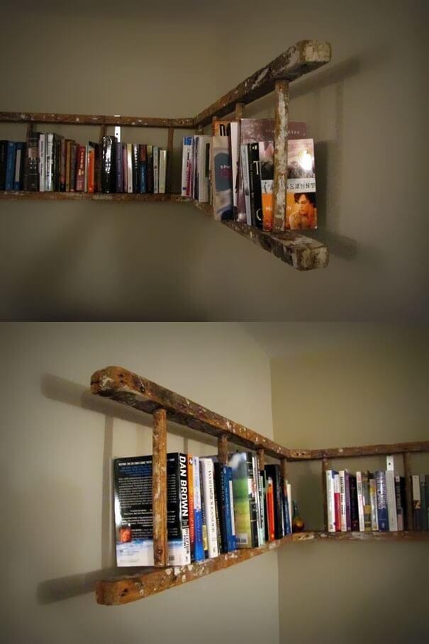Wraparound Distressed Hanging Bookshelf Design