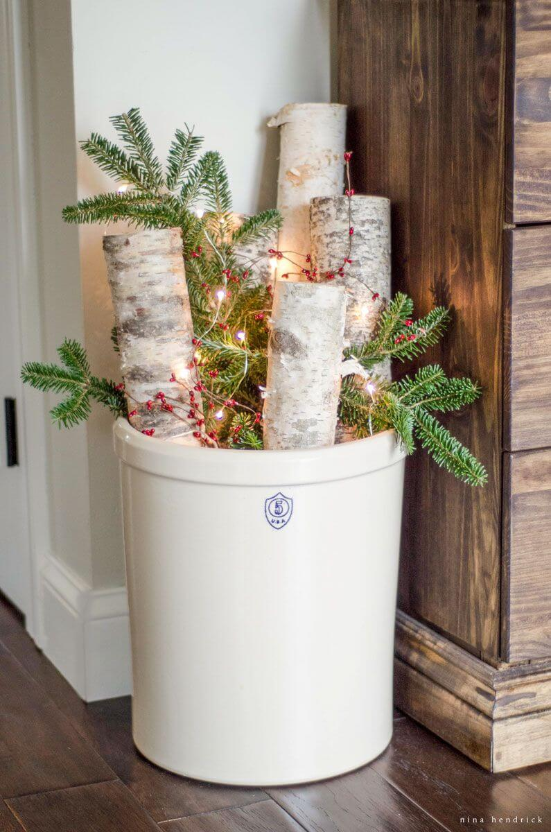 Rustic Birch, Pine, and Berry Lighted Display