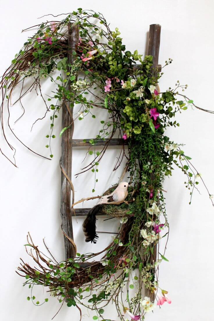 Rustic Window Pane with Flowers and Greenery